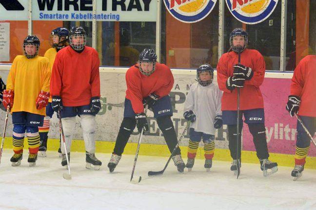 Flera nya tjejer kom för att spela hockey
