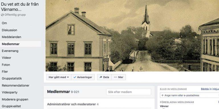 Nu 9 000 på Värnamosidan på Facebook